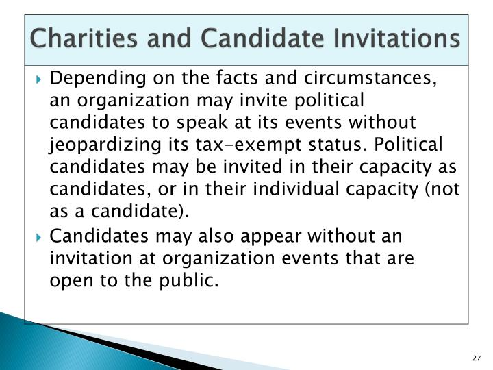 Charities and Candidate Invitations