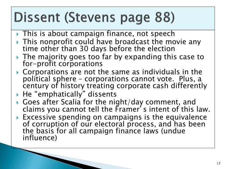 Dissent (Stevens page 88)