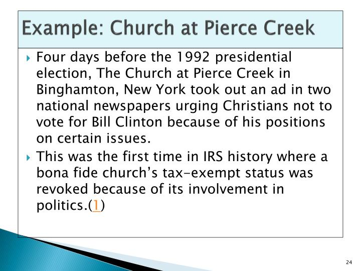 Example: Church at Pierce Creek