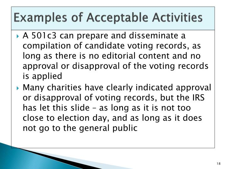 Examples of Acceptable Activities