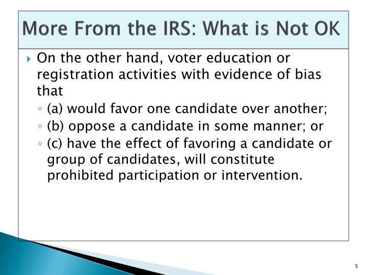 More From the IRS: What is Not OK