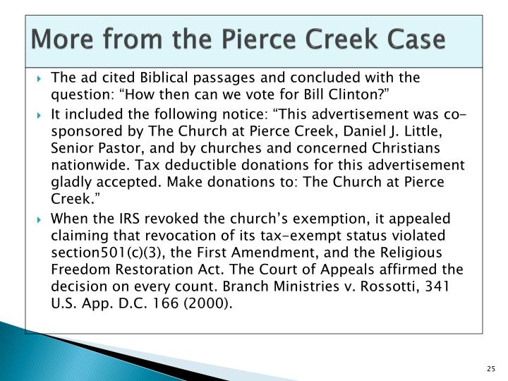 More from the Pierce Creek Case