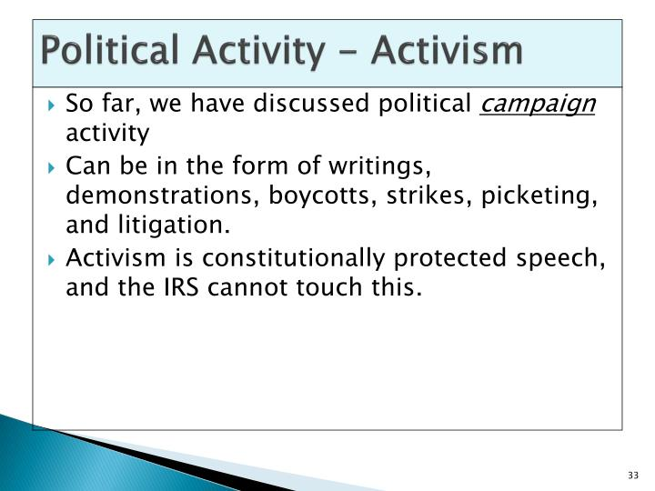 Political Activity - Activism