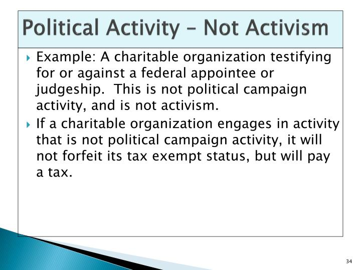 Political Activity – Not Activism