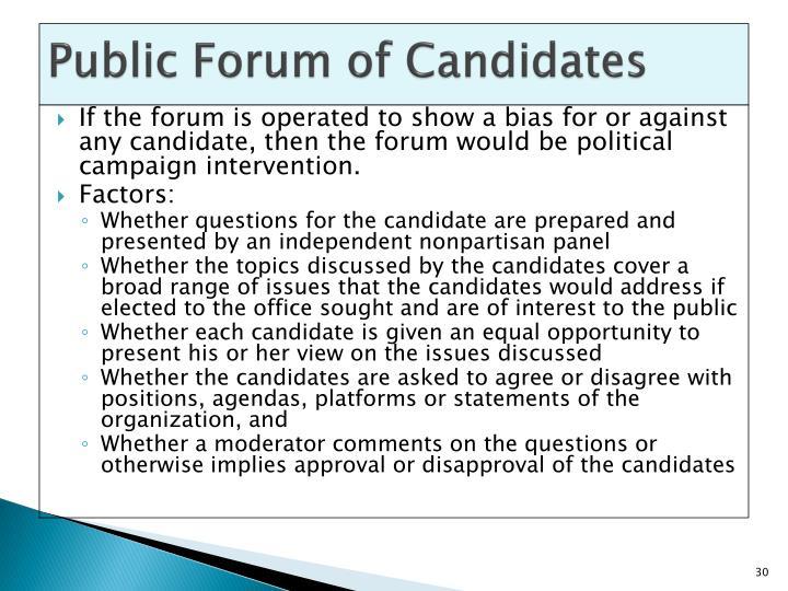 Public Forum of Candidates