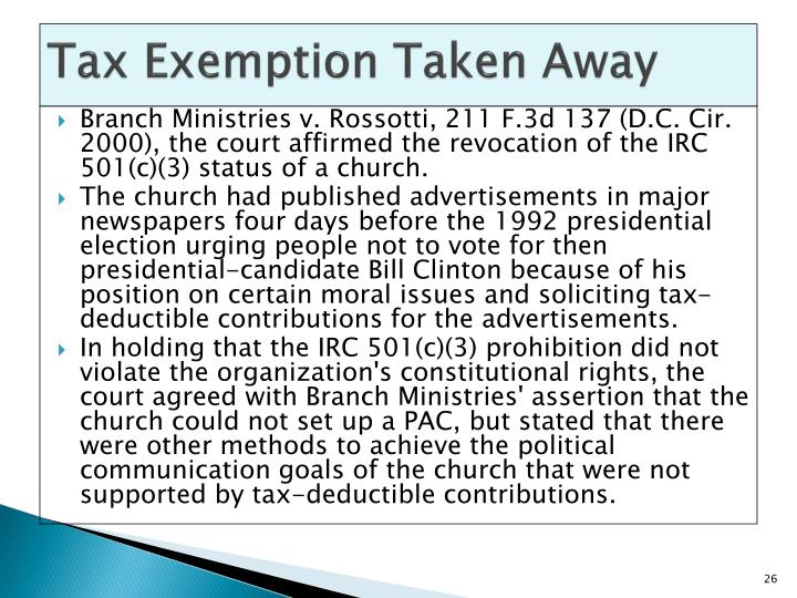 Tax Exemption Taken Away