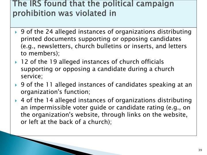 The IRS found that the political campaign prohibition was violated in