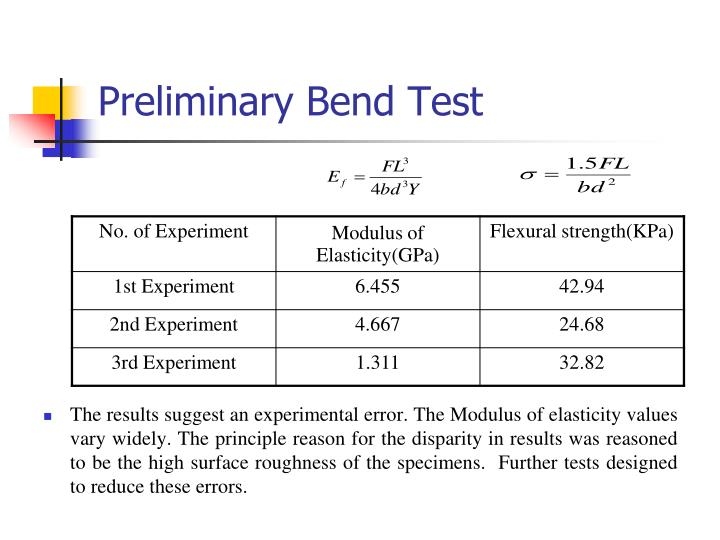 Preliminary Bend Test