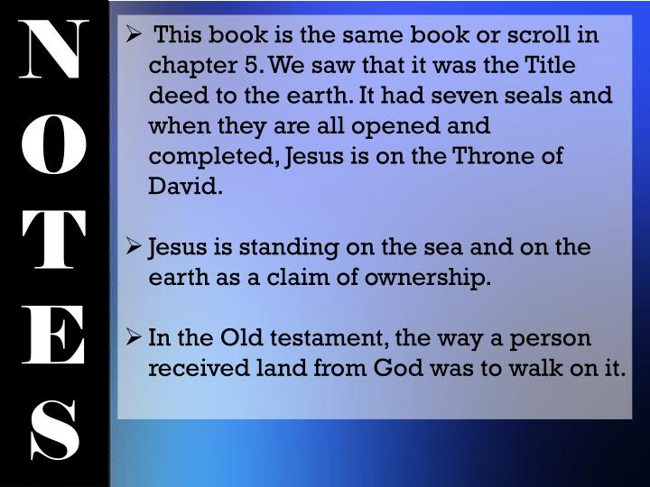 This book is the same book or scroll in chapter 5. We saw that it was the Title deed to the earth. It had seven seals and when they are all opened and completed, Jesus is on the Throne of David.