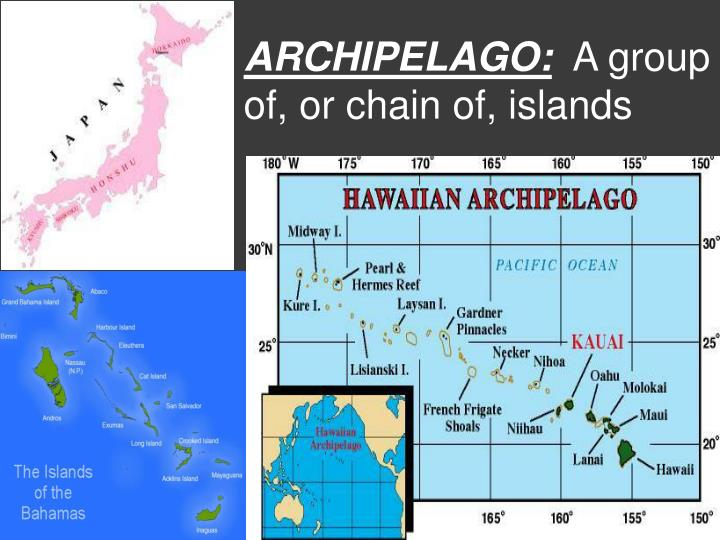Archipelago a group of or chain of islands
