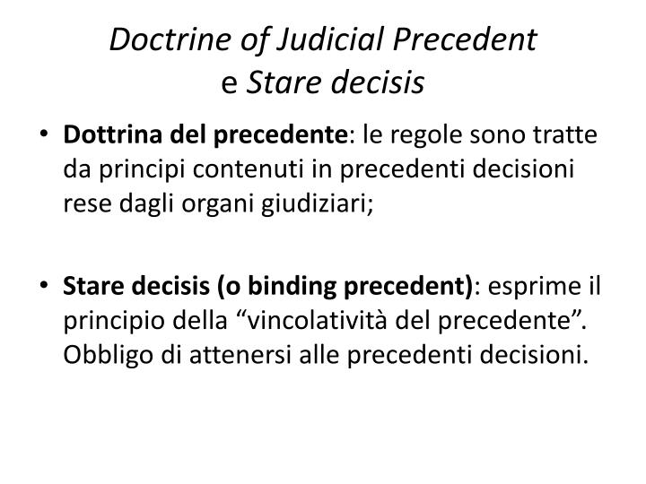 Doctrine of judicial precedent e stare decisis