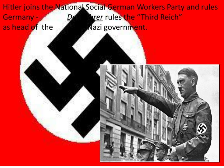Hitler joins the National Social German Workers Party and rules Germany -