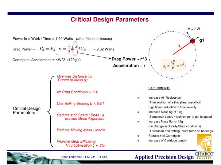 Critical Design Parameters