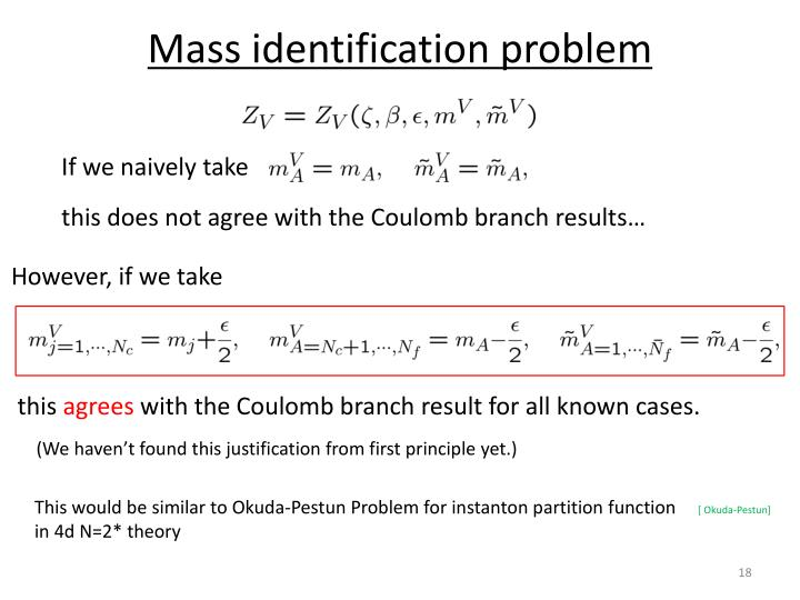 Mass identification problem