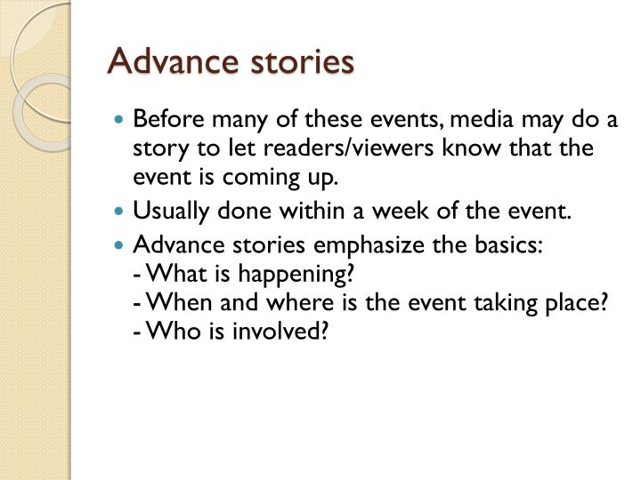 Advance stories