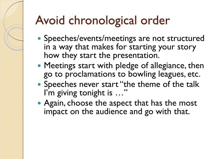Avoid chronological order