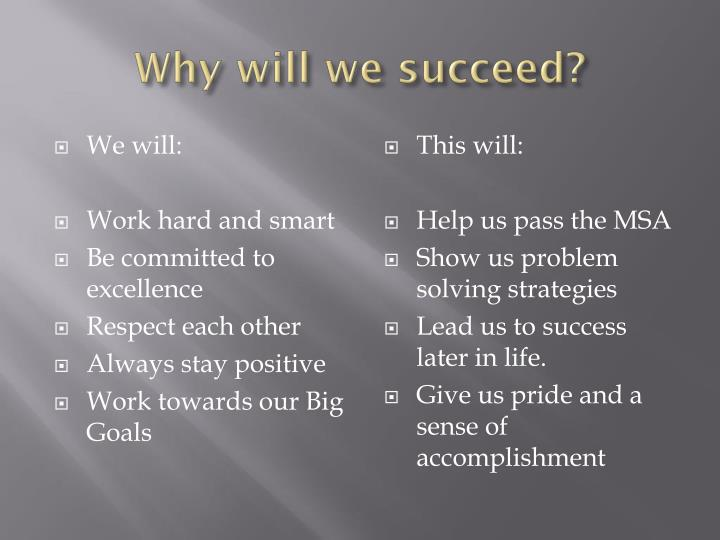 Why will we succeed?