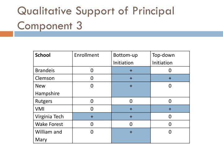Qualitative Support of Principal Component 3