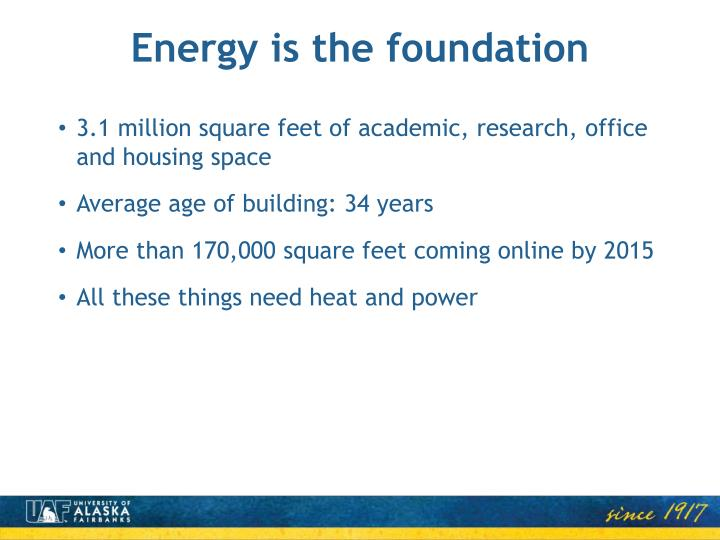 Energy is the foundation