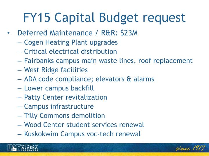 FY15 Capital Budget request