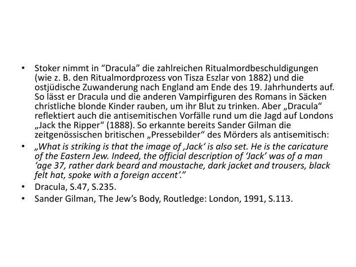 """Stoker nimmt in """"Dracula"""" die zahlreichen Ritualmordbeschuldigungen (wie z. B. den Ritualmordprozess von"""