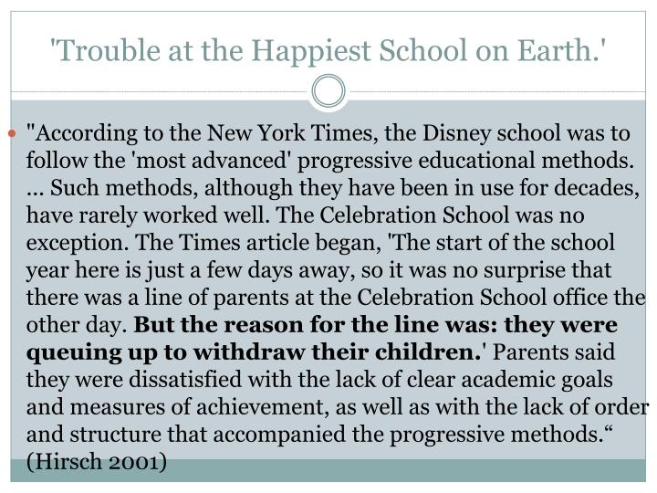 'Trouble at the Happiest School on Earth.'