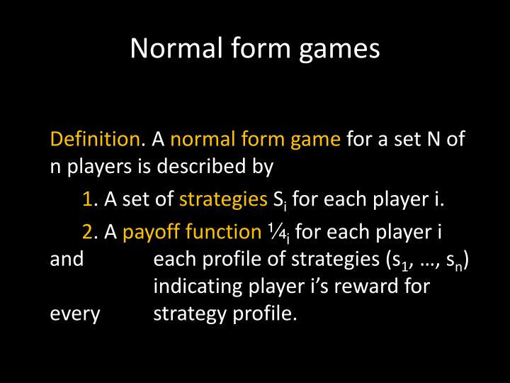 Normal form games