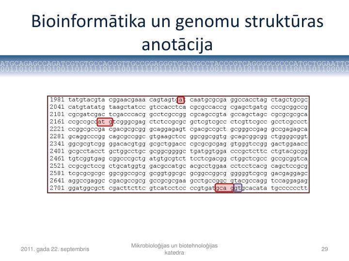 Bioinformātika un genomu struktūras anotācija
