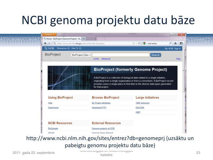 NCBI genoma projektu datu bāze