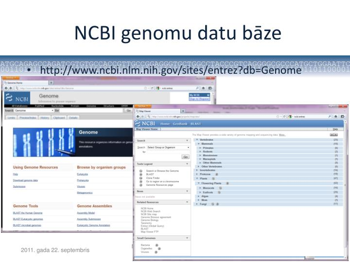 NCBI genomu datu bāze
