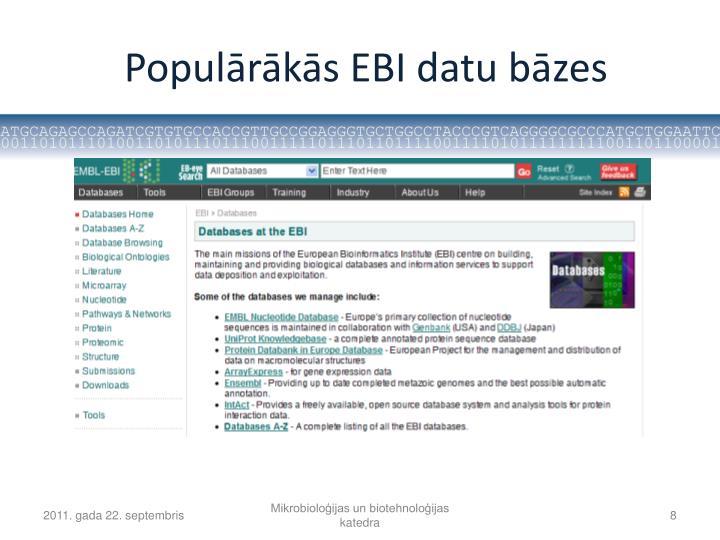 Populārākās EBI datu bāzes