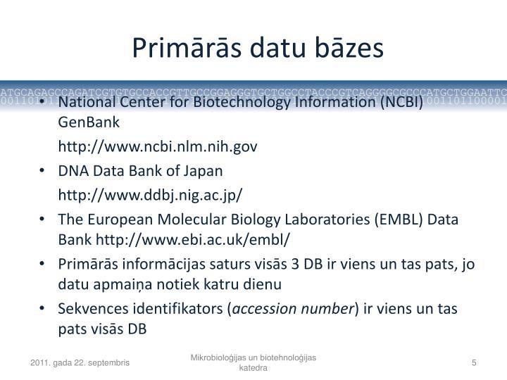 Primārās datu bāzes