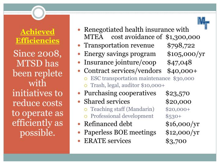 Renegotiated health insurance with MTEA     cost avoidance of  $1,300,000