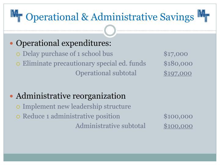 Operational & Administrative Savings
