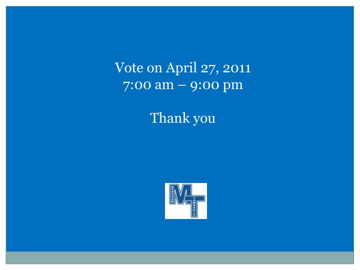 Vote on April 27, 2011