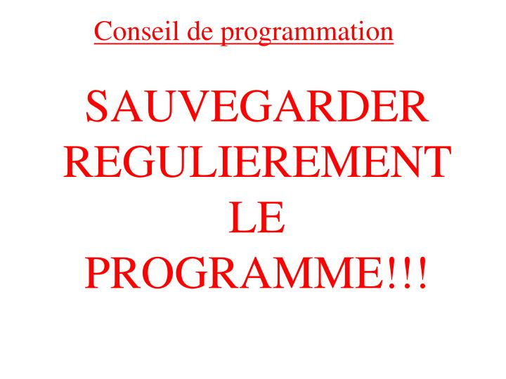 Conseil de programmation