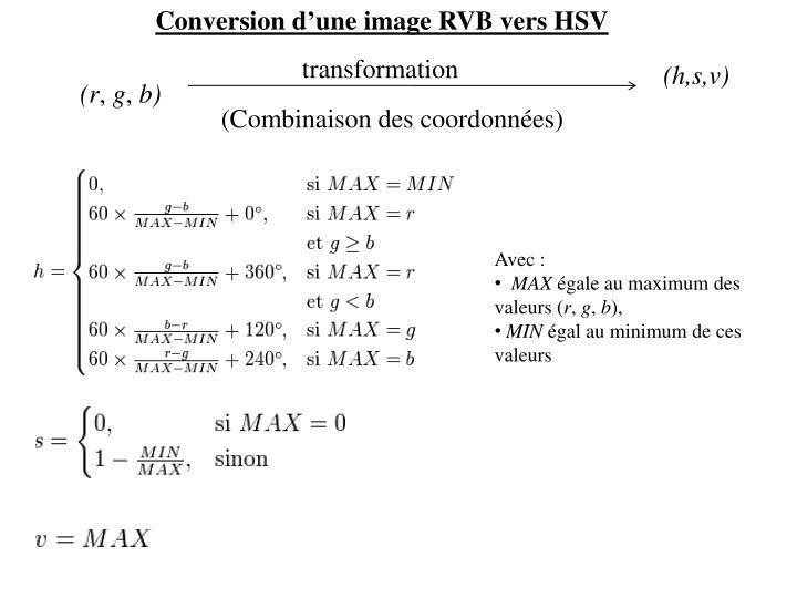 Conversion d'une image RVB vers HSV