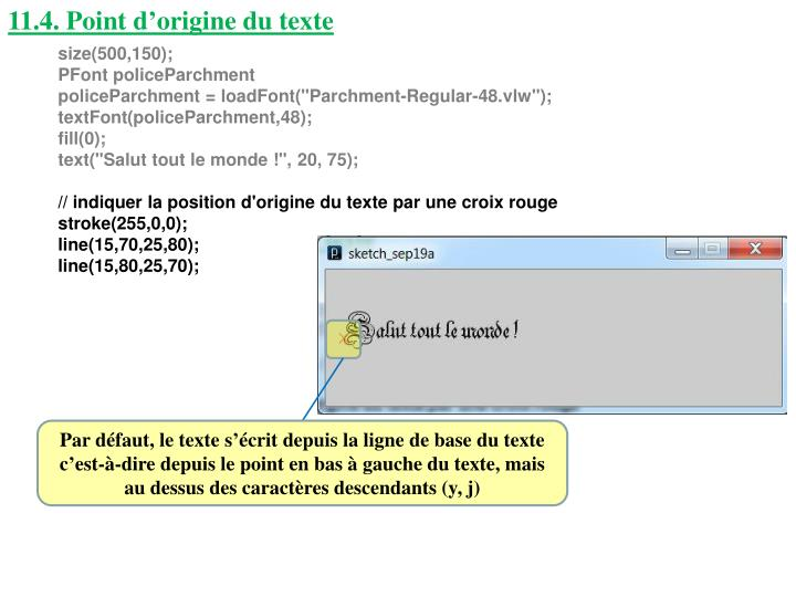 11.4. Point d'origine du texte