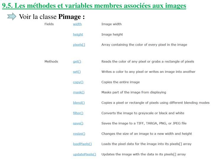 9.5. Les méthodes et variables membres associées aux images
