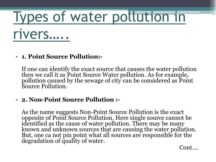 Types of water pollution in rivers…..