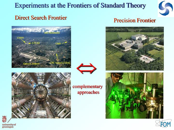 Experiments at the Frontiers of Standard Theory