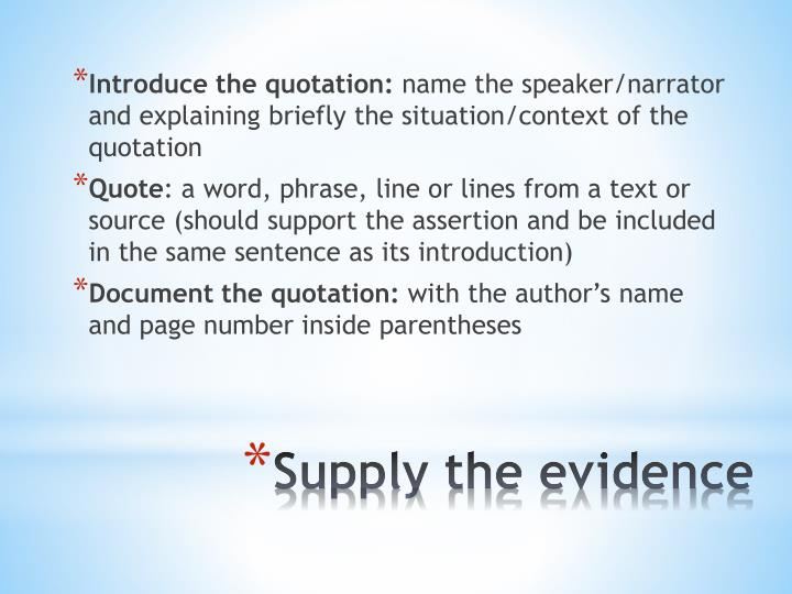 Introduce the quotation: