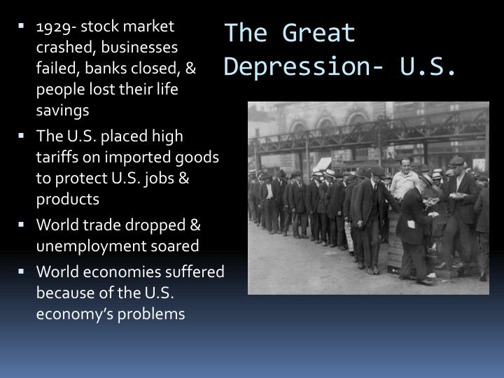 the events and circumstances leading to the great depression The great depression of the 1930's was a worldwide phenomenon composed an infinite number of separate but related events the great depression leading causes.