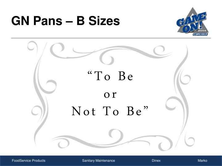 GN Pans – B Sizes