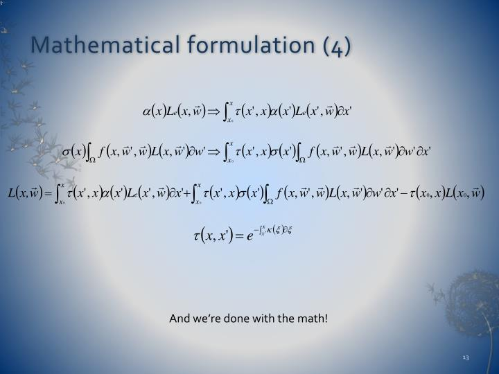 Mathematical formulation (4)