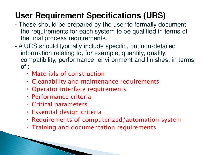 User Requirement Specifications (URS)