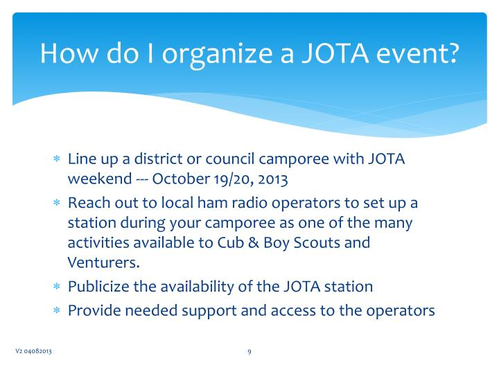 How do I organize a JOTA event?