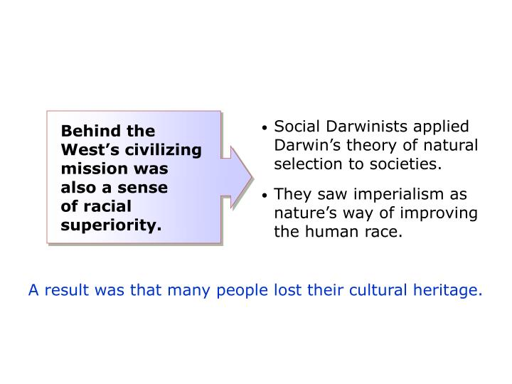 Social Darwinists applied Darwin's theory of natural selection to societies.