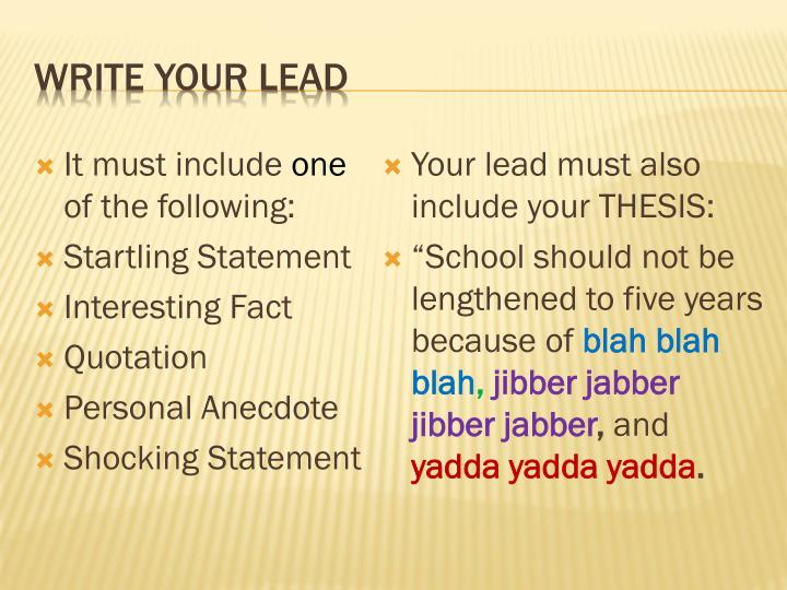Write your lead