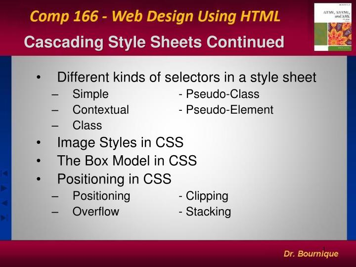 Cascading style sheets continued